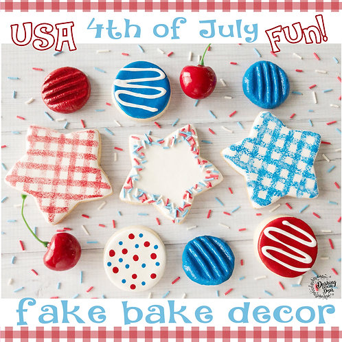 Fake Patriotic 4th of July Cookies for Decor/ Display