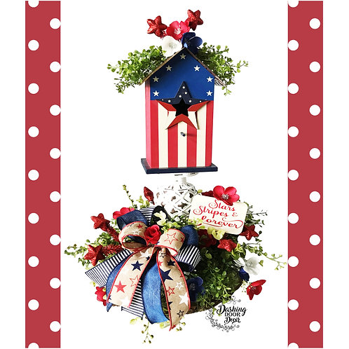 Rustic Patriotic Stars and Stripes Forever Birdhouse Centerpiece Arrangement