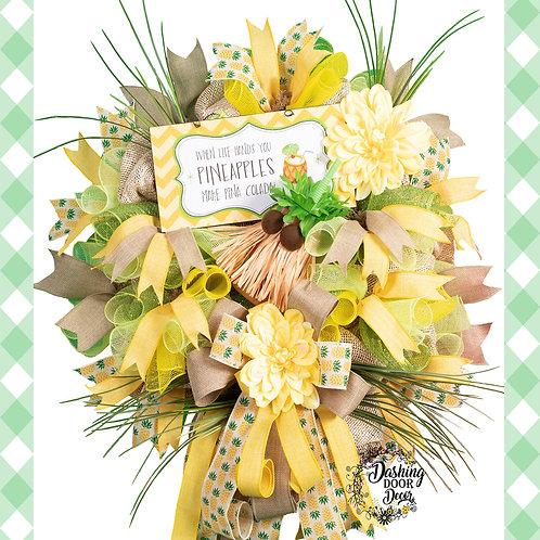 Whimsical Tropical Pineapple Pina Colada Deco Mesh Wreath