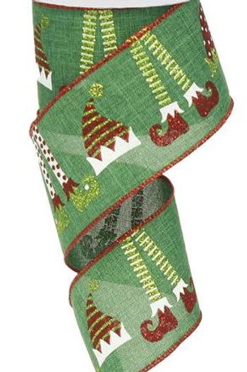 "1.5"" Elf Hats And Legs: Emerald/White/Red/Lime (10 Yards)"