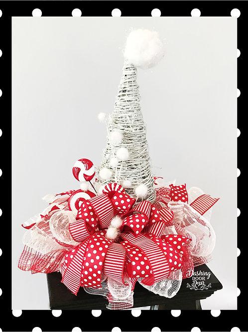 Peppermint Polka Dot Santa Hat Grapevine Centerpiece