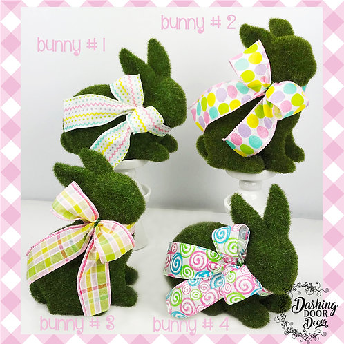 Green Flocked Bunny Rabbit with Pastel Easter Bow