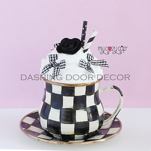 My Cozy Cap™ Black Faux Whip Mug Topper Fits Mackenzie Child's Brand Mugs