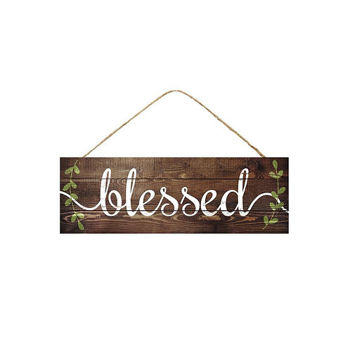 Blessed with Leaf Vines Sign