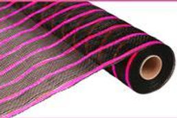 "21"" Poly Deco Mesh: Deluxe Black/Pink Stripe (10 yards)"