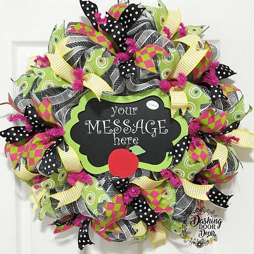 Personalized Back to School Teacher Chalkboard Classroom Deco Mesh Wreath #100