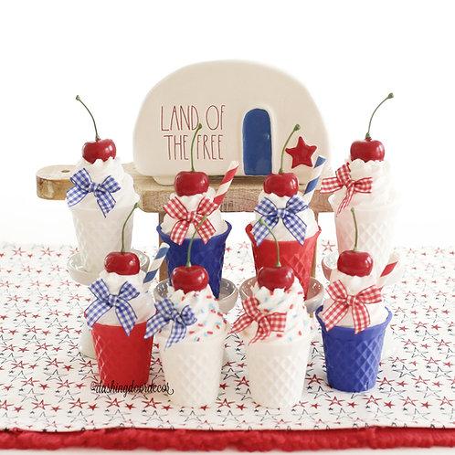 Faux Mini July 4th Patriotic Ice Cream Cone Cups