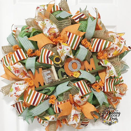 FALL Autumn WELCOME Ruffle-Curly-Spiral BURLAP DECO MESH Wreath #111