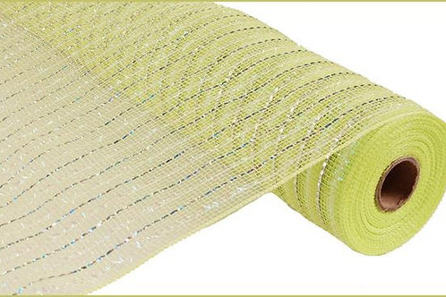 "21"" Apple Green Laser Silver Foil Iridescent Deco Mesh (10 yards)"