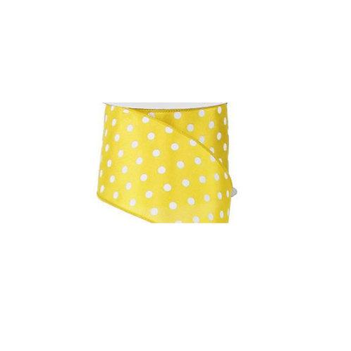 "2.5"" Small Polka Dot: Yellow/White (10 Yards)"
