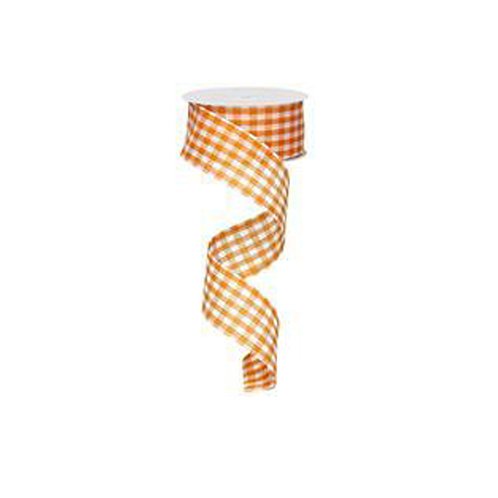 "1.5"" Gingham Check: Orange/White (10 Yards)"