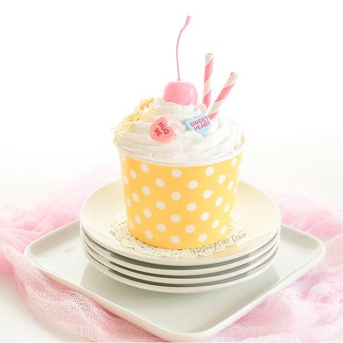 Faux Blue & White Polka Dot Ice Cream Sundae