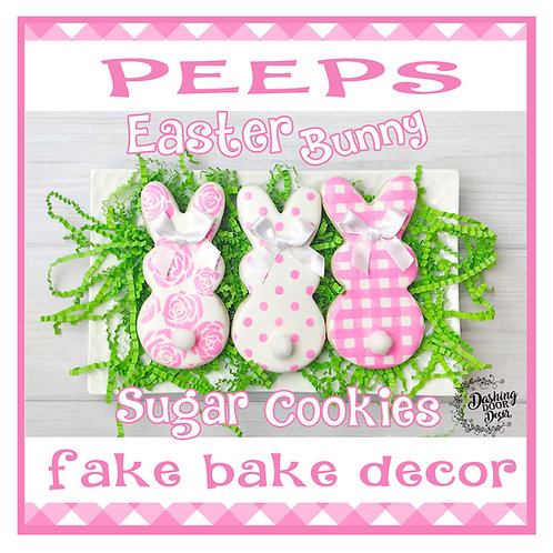 Fake Easter Peeps Cookies for Display (rose dots plaid)