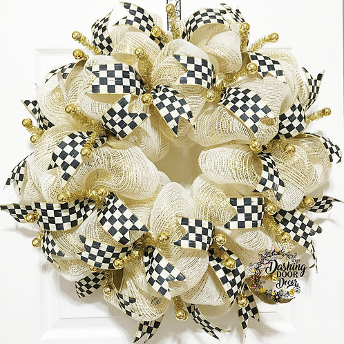 Whimsical Designer Black & Ivory Check Ribbon Wreath Cream Burlap Deco Mesh