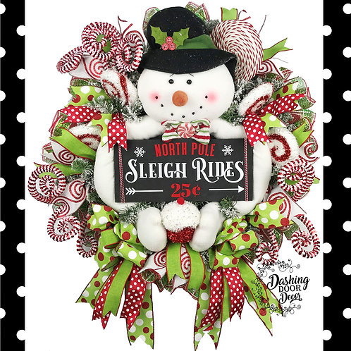 Whimsical Christmas North Pole Candy Land Sleigh Rides Snowman Wreath