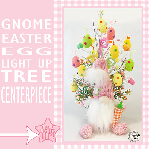 Gnome Easter Egg Light up Tree Floral Centerpiece
