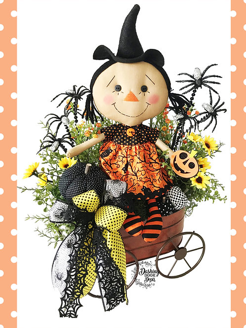 Adorable Halloween Witch Doll Wagon Tabletop Centerpiece Arrangement