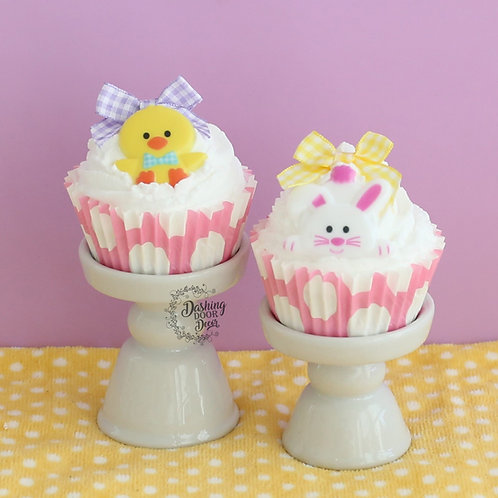 Fake Easter Chick and Bunny Cupcakes for Display