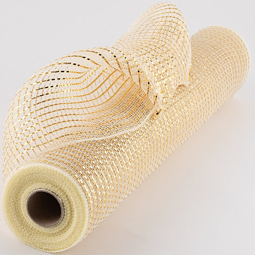 """21"""" Poly Deco Mesh: Wide Foil Metallic Gold With Cream (10 yards)"""