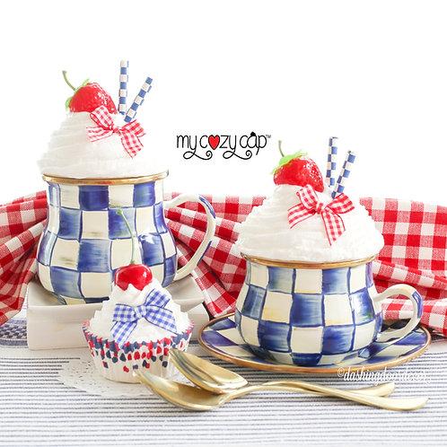 My Cozy Cap™ Strawberry Faux Whip Mug Topper Fits Mackenzie Child's Mugs