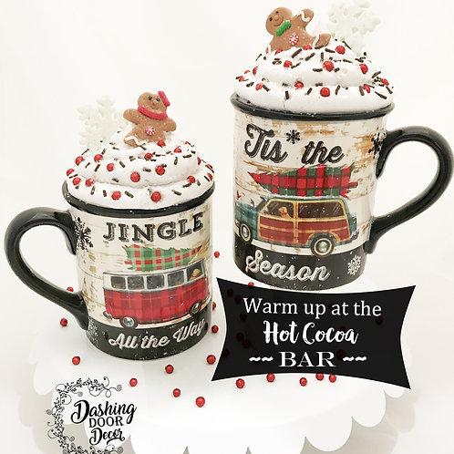Fake Food Hot Cocoa Farmhouse Style Christmas Mug Set of 2