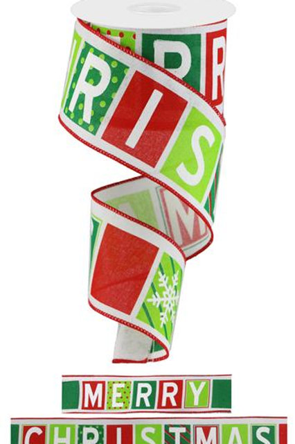"2.5"" Merry Christmas Blocks: White/Red/Lime/Emerald (10 Yards)"