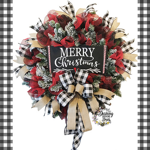 Charming Traditional Merry Christmas Evergreen Wreath in Black-Red