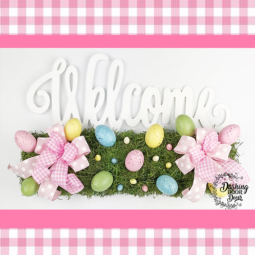 Spring-Easter Egg Welcome Rail Door Hanger w/Pink Bows