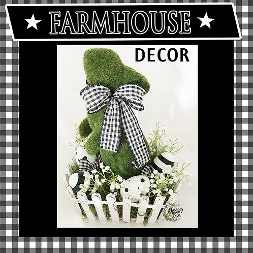 Spring Farmhouse Flocked Bunny Rabbit Arrangement in Black & White