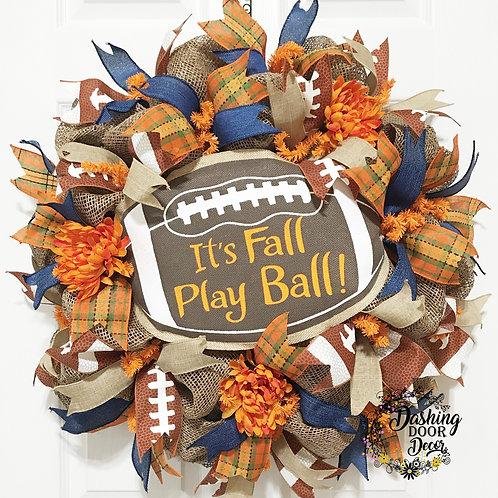 Festive Autumn It's FALL Play Ball FOOTBALL Burlap Deco Mesh Wreath #110