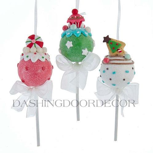 Faux Cake Pop Lollipop Ornaments