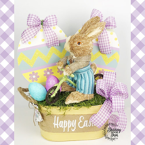 Happy Easter Bunny on a Scooter Centerpiece Floral Tabletop Arrangement