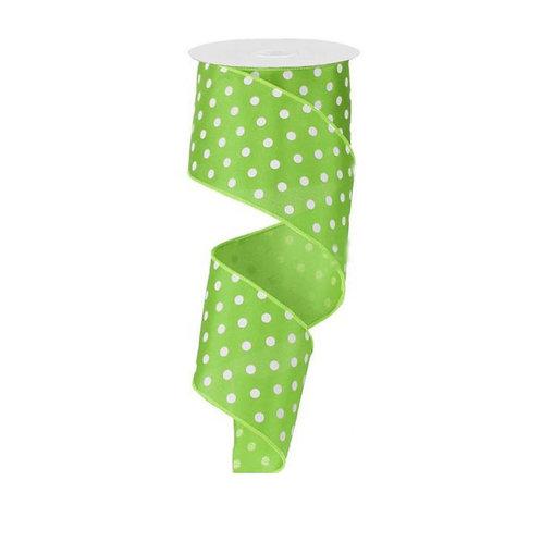 "2.5"" Small Polka Dot: Lime Green/White (10 Yards)"