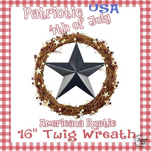 Farmhouse Natural Twig Blue Star Patriotic Fourth of July Wreath
