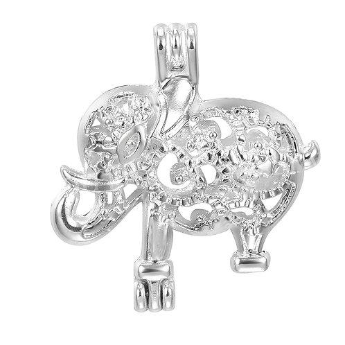 Scroll Elephant Pearl Pendant