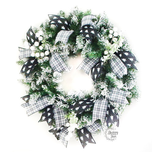 Farmhouse Flocked Christmas Wreath in Black and White