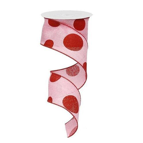 "2.5"" Faux Burlap Giant Polka Dot Ribbon Pink-Red (10 Yards)"