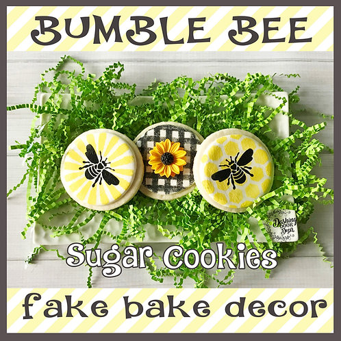 Fake Bake Bumble Bee Cookies for Display (sun,check,honeycomb)
