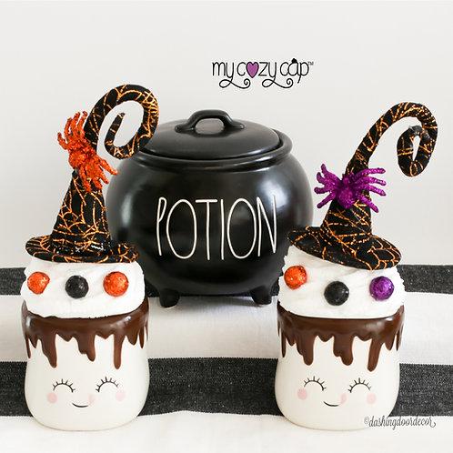 My Cozy Cap™ Halloween Witch's Hat Orange or Purple Marshmallow Mug Topper