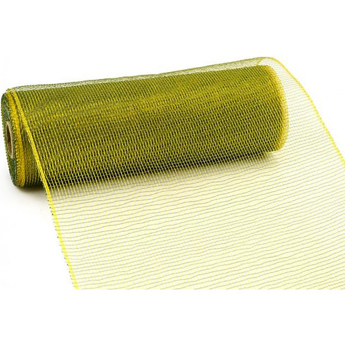 "10"" Poly Deco Mesh: 2-Tone Moss Green/Gold"