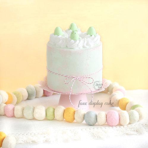 Fake Naked Soft Green & Pink Easter Egg Cake for Display