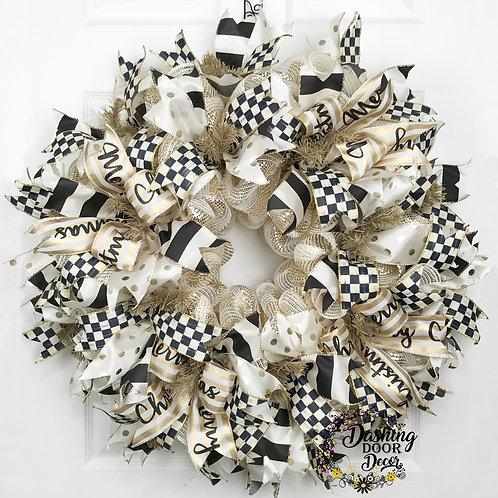 Whimsical Christmas Designer Black & Ivory Check Ribbon Deco Mesh Wreath #118