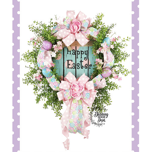 Happy Easter Spring Grapevine Floral Wreath