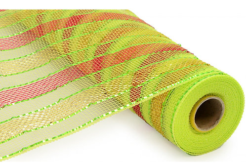 """21"""" Poly Deco Mesh: Metallic Red/Apple Green/Gold Stripes (10 yards)"""