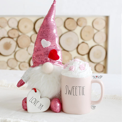My Cozy Cap™ Pink Roses Faux Whip Mug Topper fits your Rae Dunn Mug
