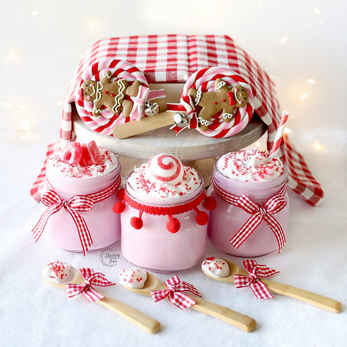 Faux Candy Cane Peppermint Crunch Hot Cocoa Decor
