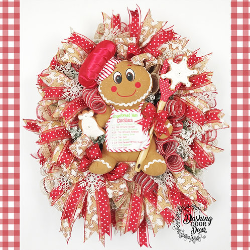 Singing Gingerbread Man Baking Christmas Cookies Wreath