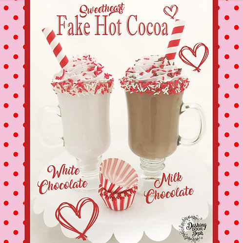 Valentine Sweetheart Fake Food Hot Cocoa Chocolate Mugs w/ Whipped Cream