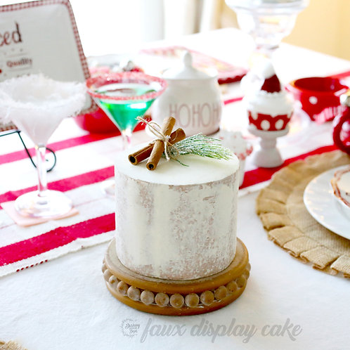 Faux Rustic Naked Cinnamon Christmas Cake for Display Decor