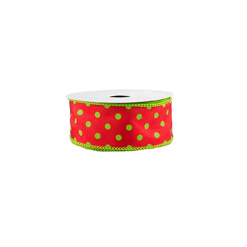 "1.5"" Small Polka Dot: Red/Lime (10 Yards)"